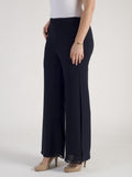 Navy Double Layer Side Slit Chiffon Trouser
