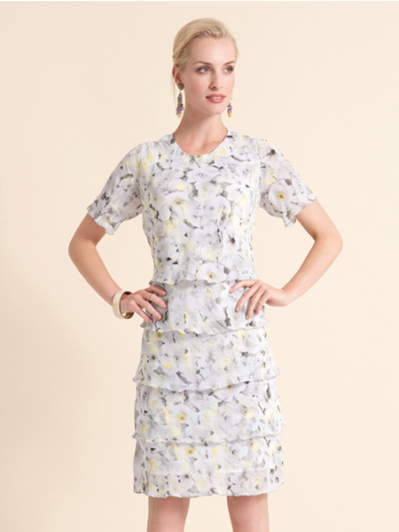 Frank Walder Tiered Georgette Dress