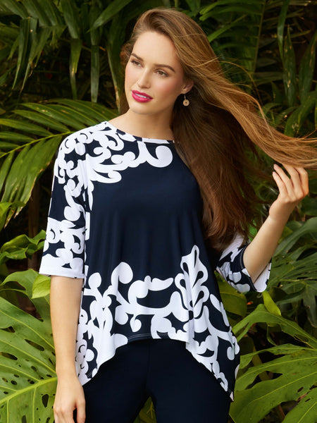 Joseph Ribkoff Navy/White Jersey Scroll Print Tunic Top