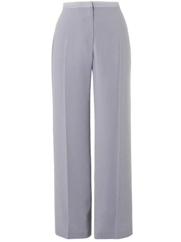 Pale Grey Top Stitched Waist Satin Back Unlined Trouser