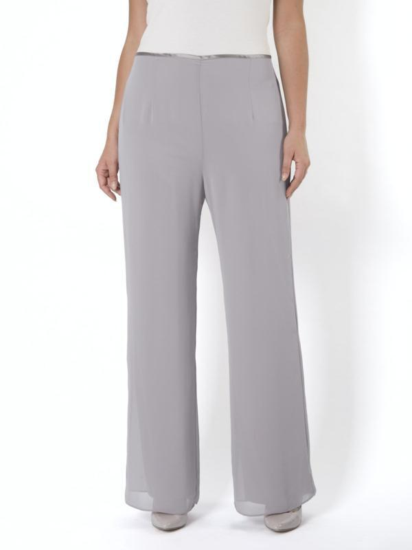 Pale Grey Jersey Lined Chiffon Trouser