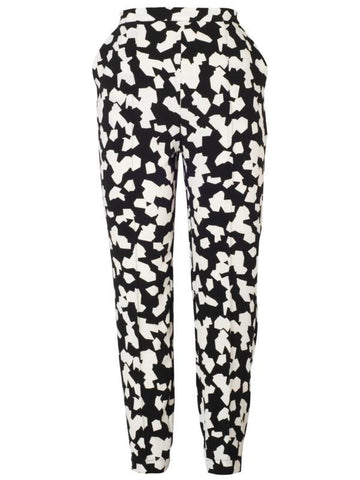 Black/Ivory Abstract Jigsaw Pants
