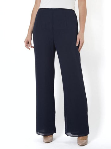 Dark Navy Chiffon Pant with Jersey Lining