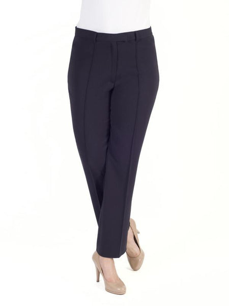 Navy Pin Stitch Trim Stretch Trouser