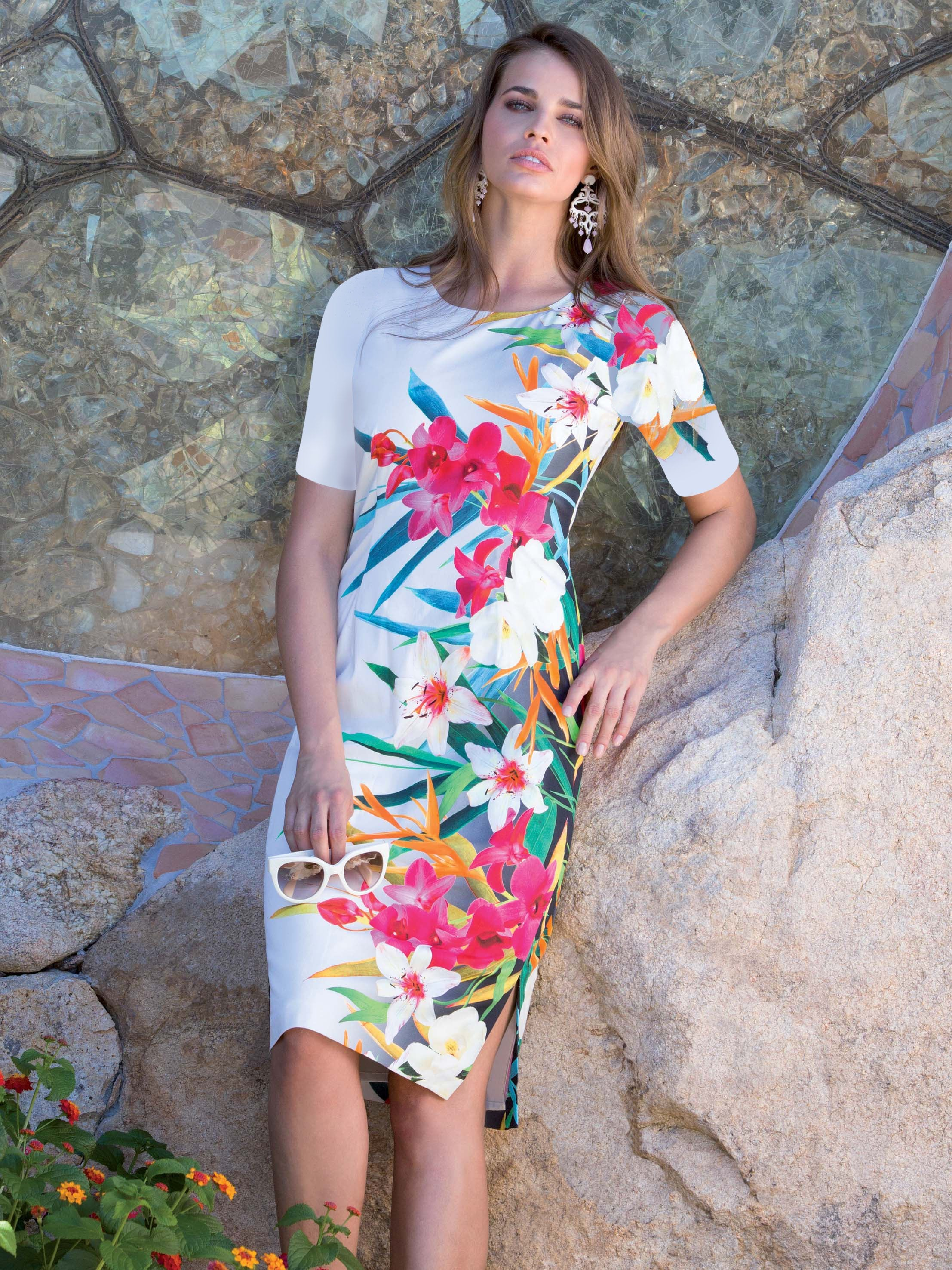 Michaela Louisa White/Multi Tropical Print short sleeved Dress
