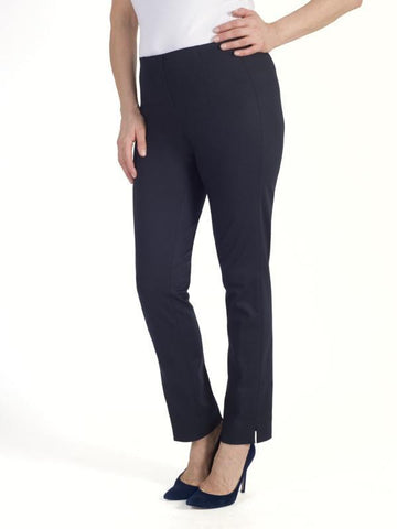 Navy Pull On Stretch Slim Leg Trouser