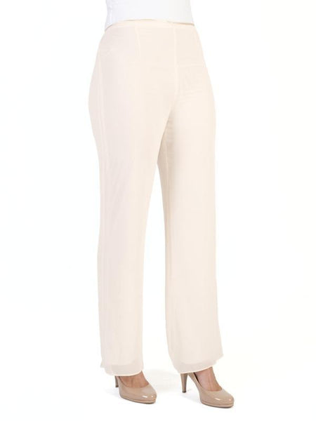 Blonde Satin Trim Chiffon Trouser