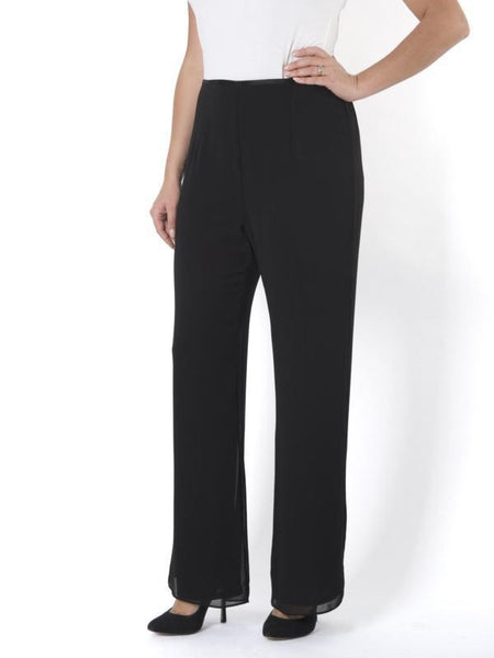 Chesca Black Chiffon Trouser with Jersey Lining