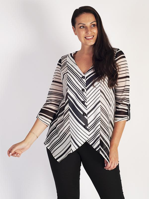Ivory/Black Button Front V-Neck Tunic with Tab & Button Insert on Sleeves