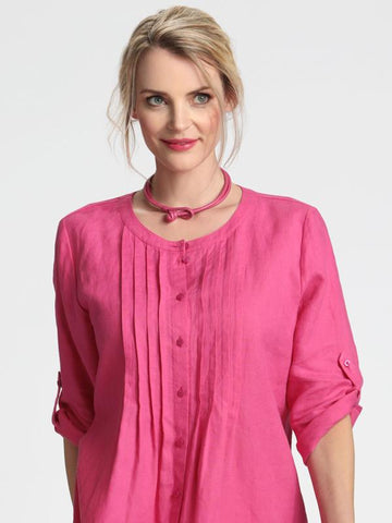 Pink Pintuck Linen Mix Shirt/Blouse