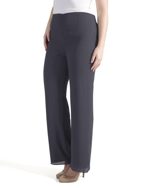 Pewter Satin Trim Chiffon Trouser (side view)