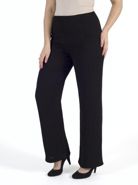 Black Fine rib trouser-slight flare