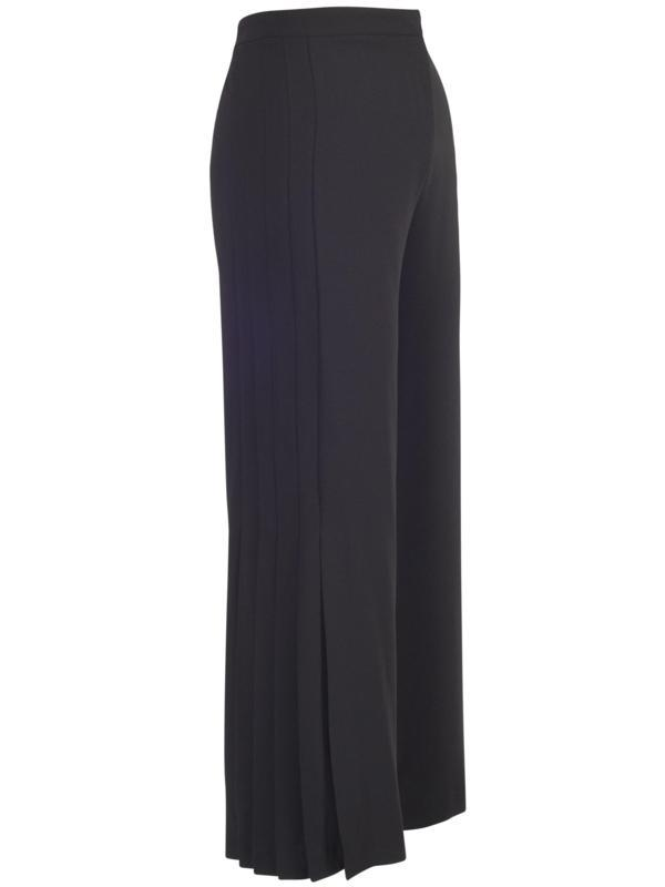 Black Pleat Trim Crepe Trouser