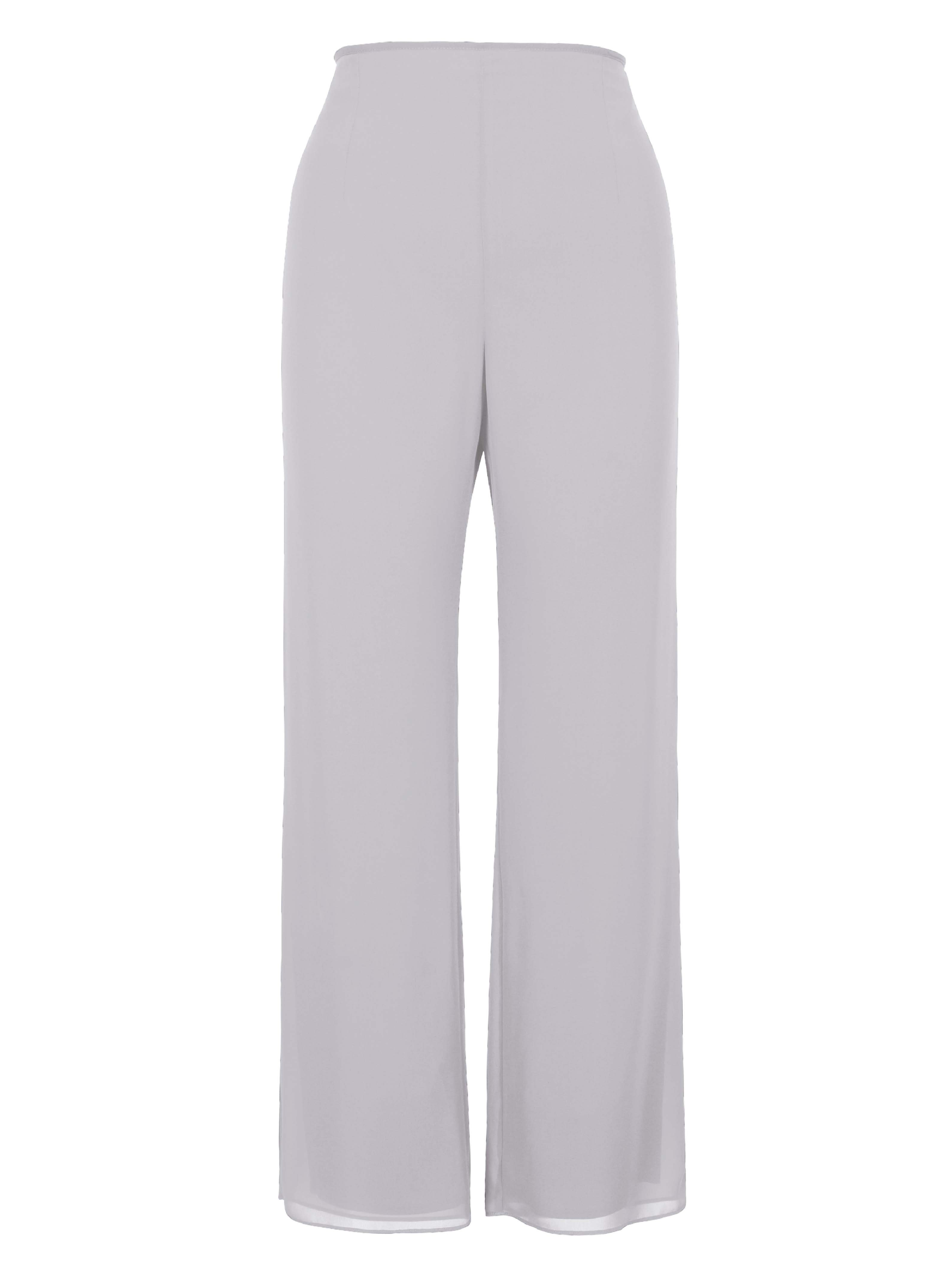Dove Satin Trim Chiffon Trouser