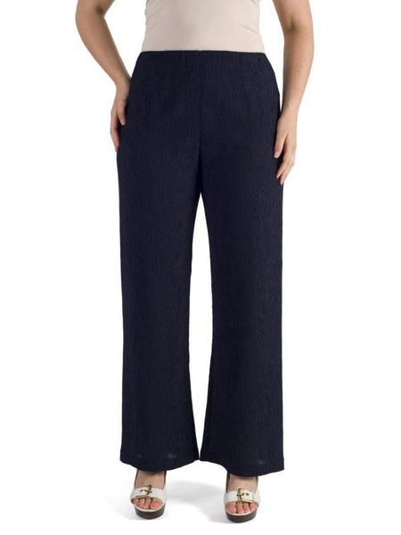 Navy Textured Crinkle Trouser