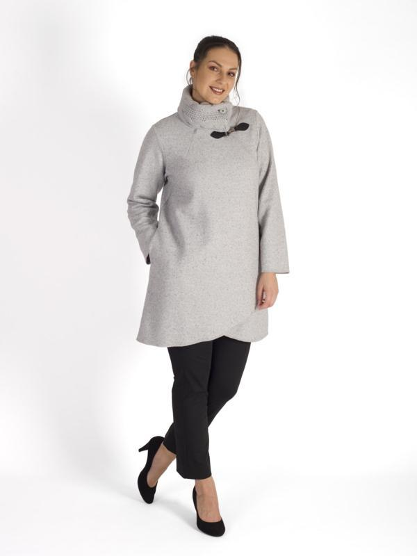 Pale Grey Cable Collar Clasp Detail Melange Boiled Wool Coat