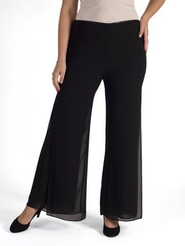 Black Double Layer Side Slit Chiffon Trouser