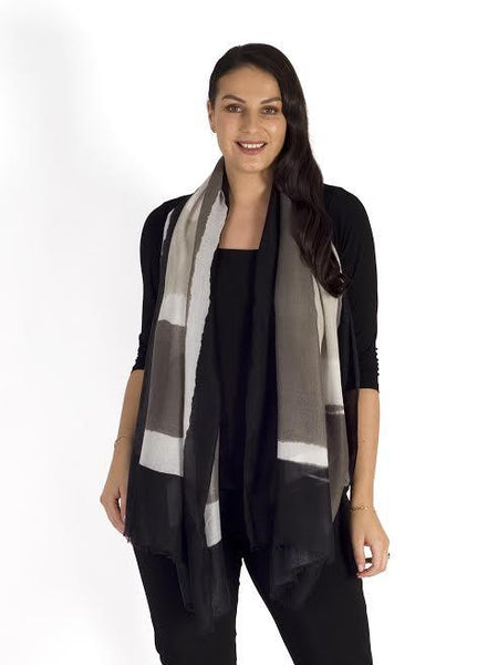 Black Painted Colour Block Print Scarf