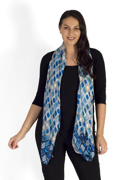 Blue/Yellow Droplet Print Scarf