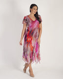 Magenta Abstract Print Godet Trim Mesh Dress
