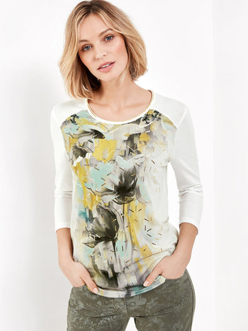 GERRY WEBER Ivory/Aqua Printed Front Jersey ¾ Sleeve Top