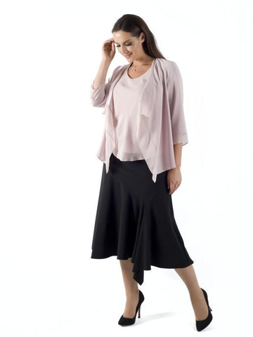 Black Flared Moss Crepe Skirt
