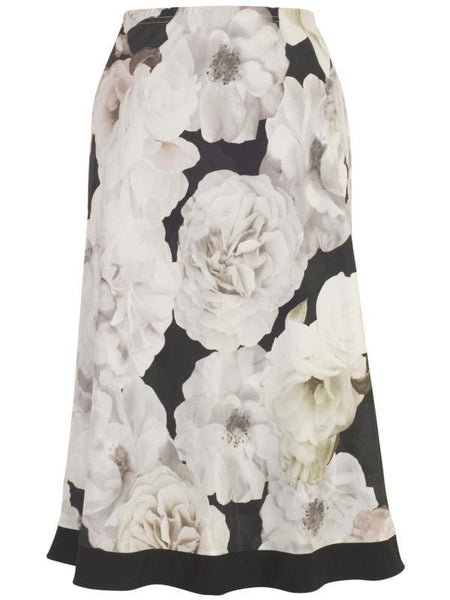 Blush Contrast Trim Rose Print Skirt