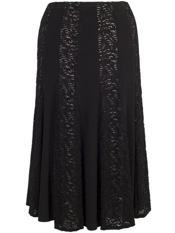 Black Lace & Jersey Panel Skirt