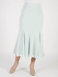 Aqua satin trim Satin Back Crepe Skirt