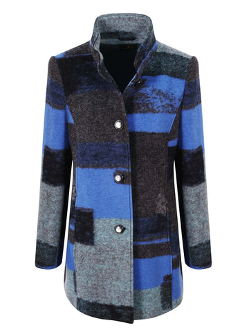 Eugen Klein Blue/Gry/Blck Patchwork Effect Printed Coat