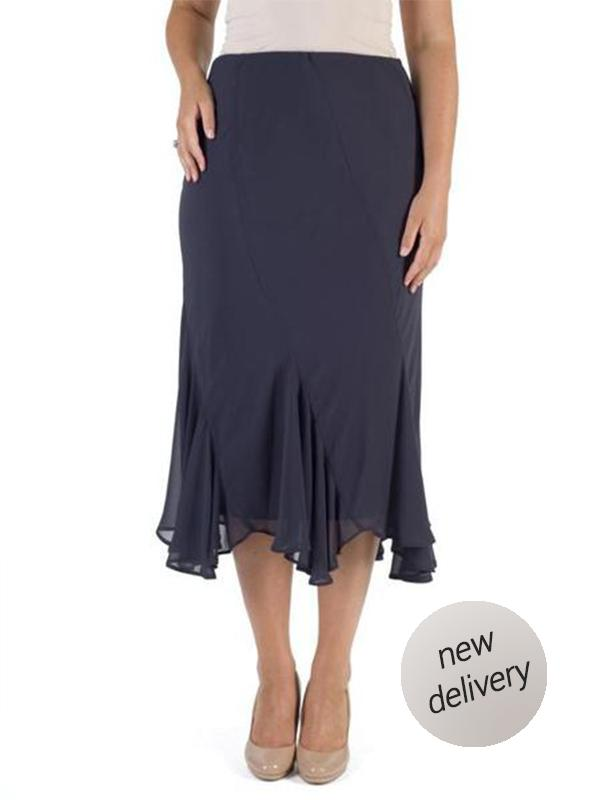 Pewter Cut Panel Flared Hem Chiffon Skirt