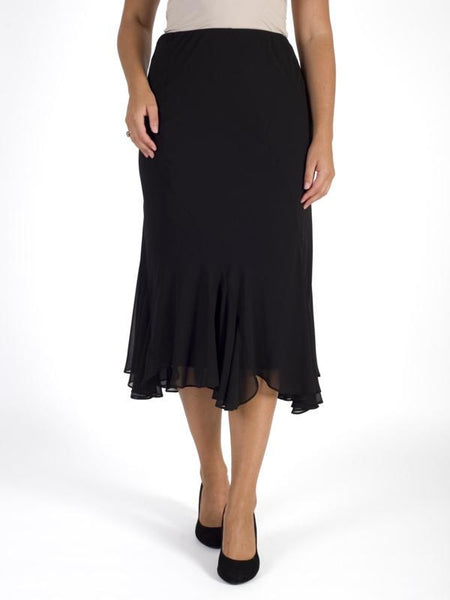 Black Cut Panel Flared Hem Chiffon Skirt
