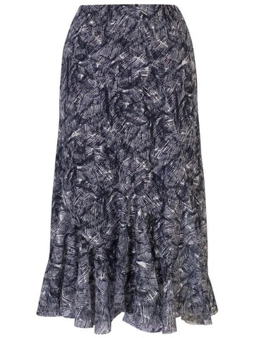 Navy Printed Stretch Curve Panel Skirt