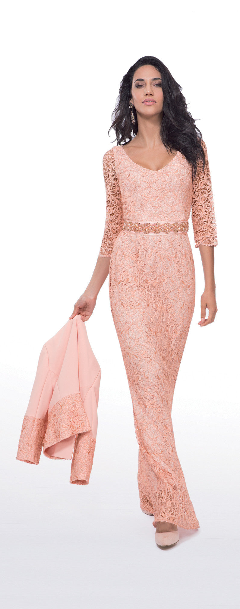 Michaela Louisa Blush Pink ¾ Sleeve Lace Maxi Dress
