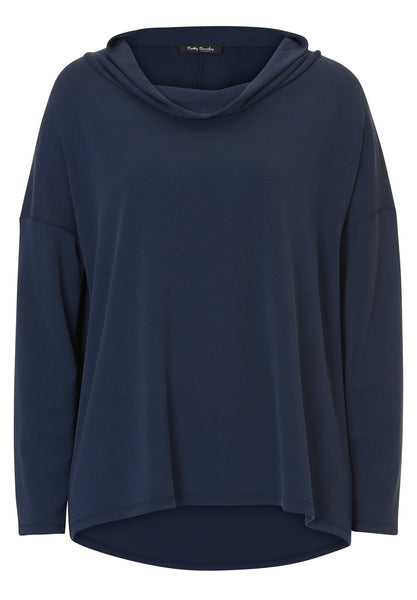 BETTY BARCLAY Indigo Jersey Cowl-neck Top