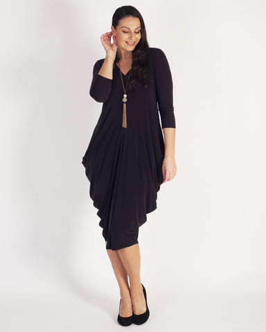 Dark Purple Tulip Notch Neck Jersey Dress