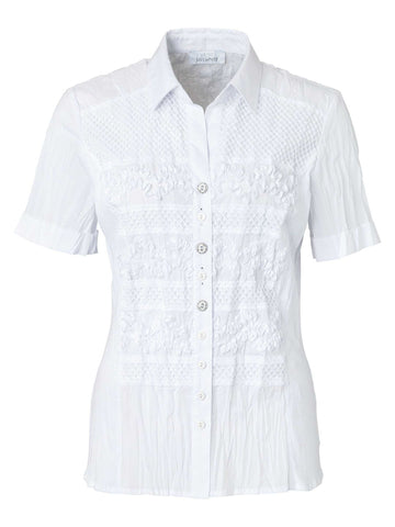 Just White White Crinkle Cotton Shirt With Self Emb Detail