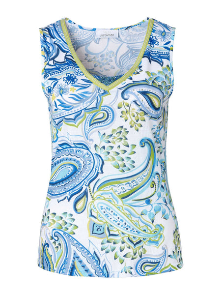 Just White Blue Paisley Print Top With Lime Trim
