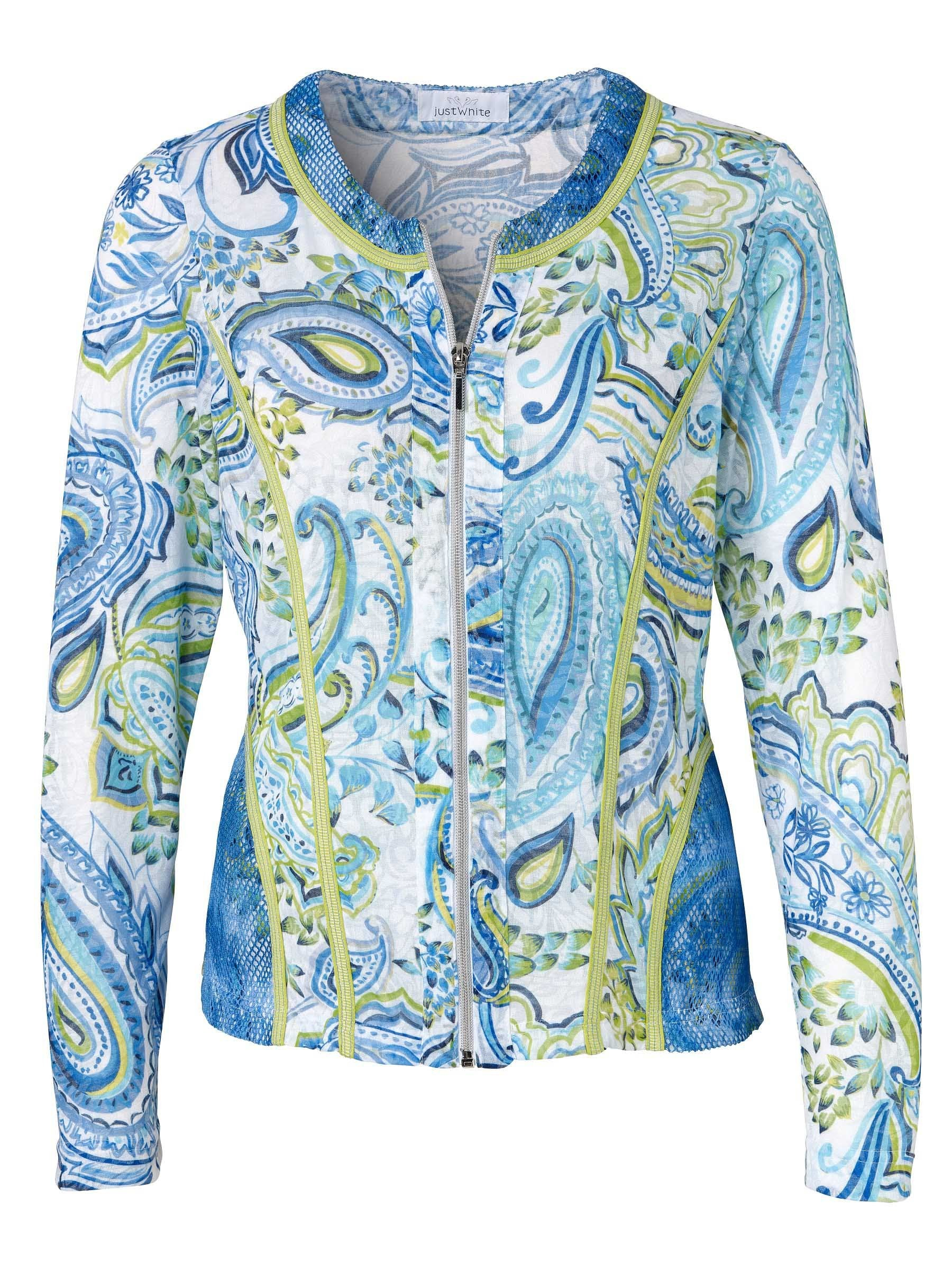 Just White Blue L/S Paisley Print Cardigan With Lime Trim