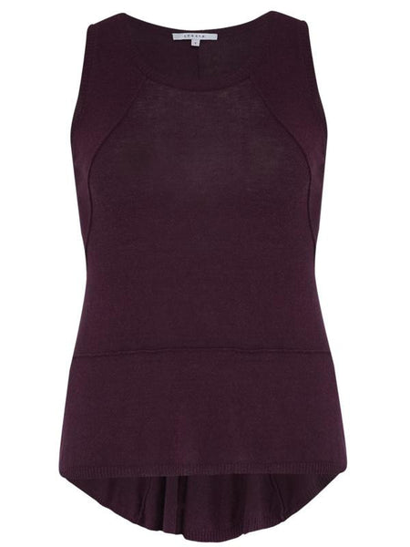 Plum Seamed Knitted Top with Godet