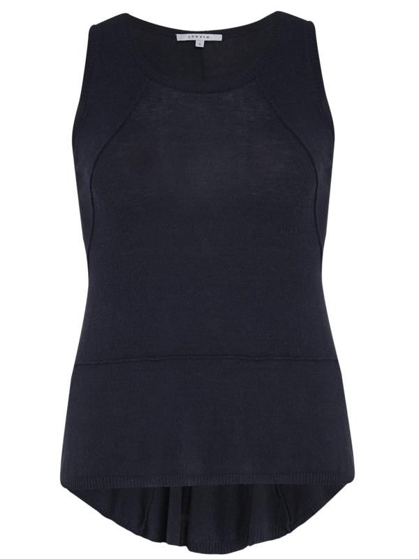 Chesca Direct Indigo Seamed Knitted Top with Godet