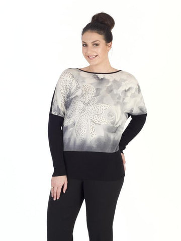 Grey/Rose Diamante Trim Jumper
