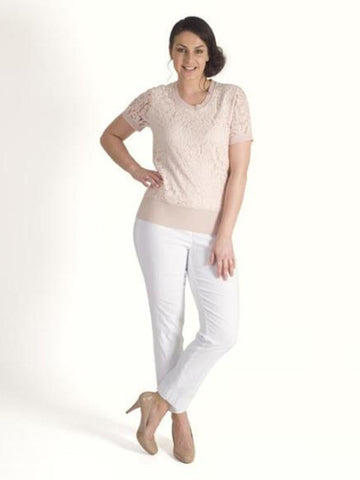 Chesca Soft Peach Knitted Corded Lace Top