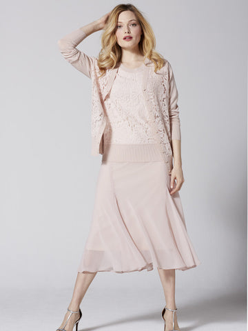 Chesca Soft Peach Corded Lace Cardigan