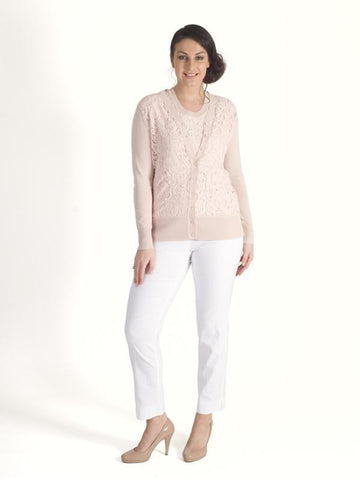 Soft Peach  V-neck Cardigan with  Corded lace bodice
