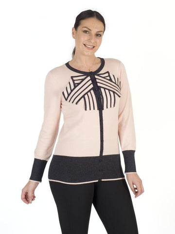 Blush Stripe Bow Trim Jumper