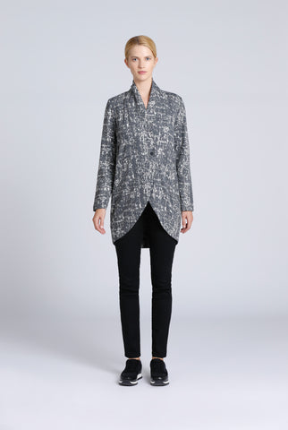 Grey Melange Printed Single Button Jacket