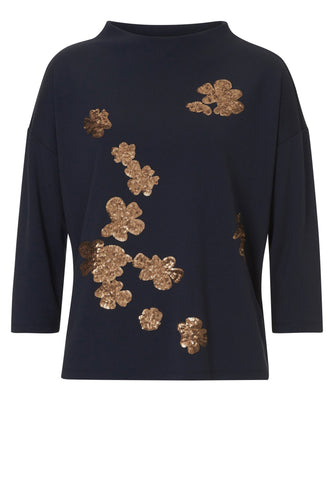 Betty Barclay Sequin Flowers Jersey Top