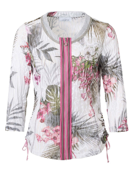 Just White White/Khaki/Pink Tropical Print Crinkle Jersey Cardigan