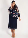 Navy Multi Floral Organza Stripe Contrast Trim Jacket